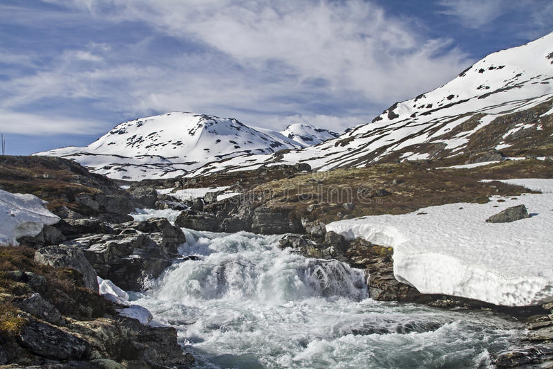 Spring in Leirdalen. The rivers and streams exempt slowly from ice and snow stock photography