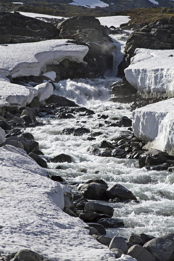 Spring in Leirdalen. The rivers and streams exempt slowly from ice and snow royalty free stock images