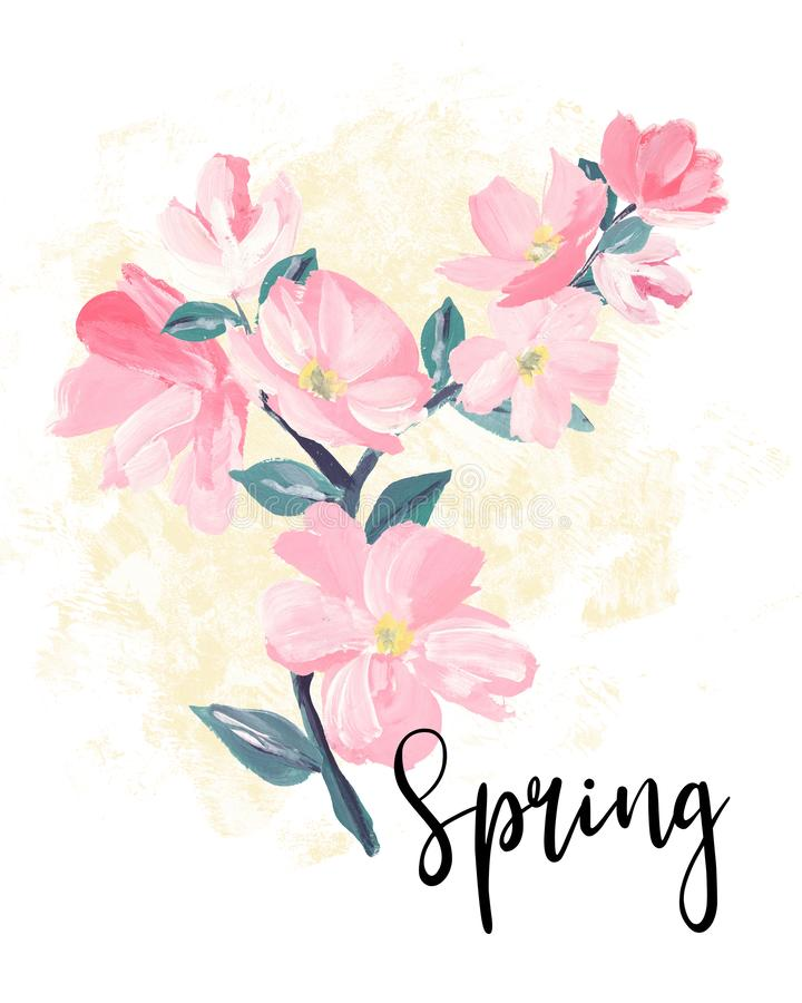 Spring lettering.  greeting cards, banners and invitation card with blossom sakura flowers. Color pink sakura cherry blossom flowe stock illustration
