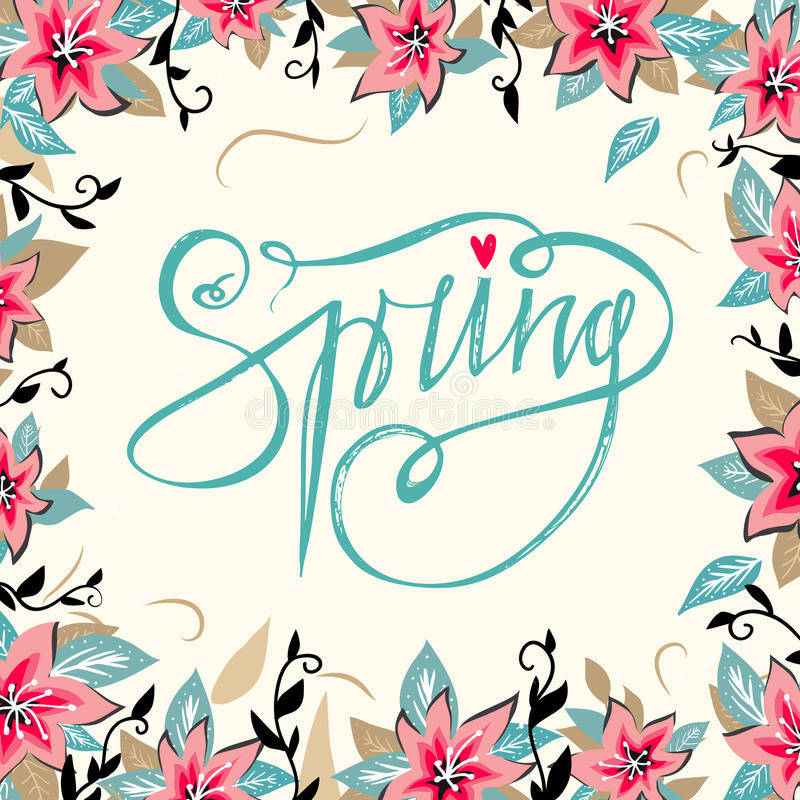 Download Spring Lettering With Hand Drawn Flowers And Round Floral Frame Background Season