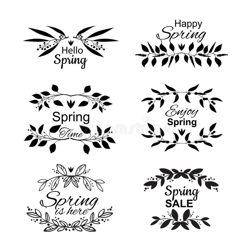 Spring lettering set with decorative elements stock illustration