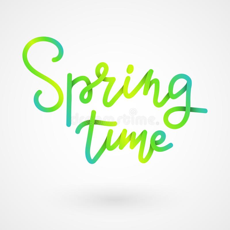 Spring lettering. Spring time paper cut lettering with shadow. Hand drawn calligraphy and brush pen lettering. Design vector illustration