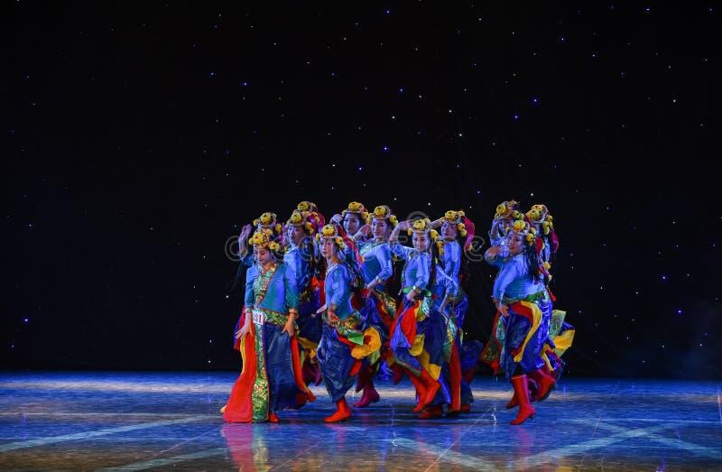 Spring of Lhasa-China Tibetan collective dance. Graduation performance of class5, grade 11, dancing department,Jiangxi Vocational Academy of Art on Dec 26,2015 stock photo