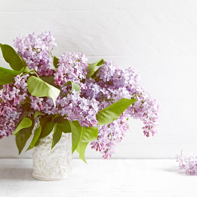 Bouquet of Spring Lilac Flowers Copy space. Horizontal. royalty free stock photos