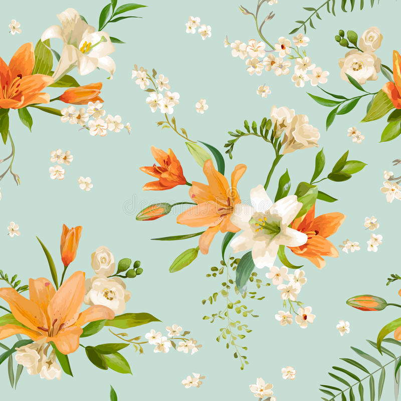 Spring Lily Flowers Background - Seamless Floral Pattern royalty free illustration