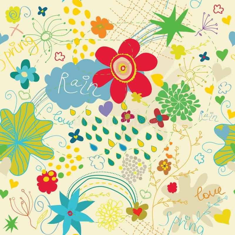 Spring Love Seamless Pattern Stock Photos