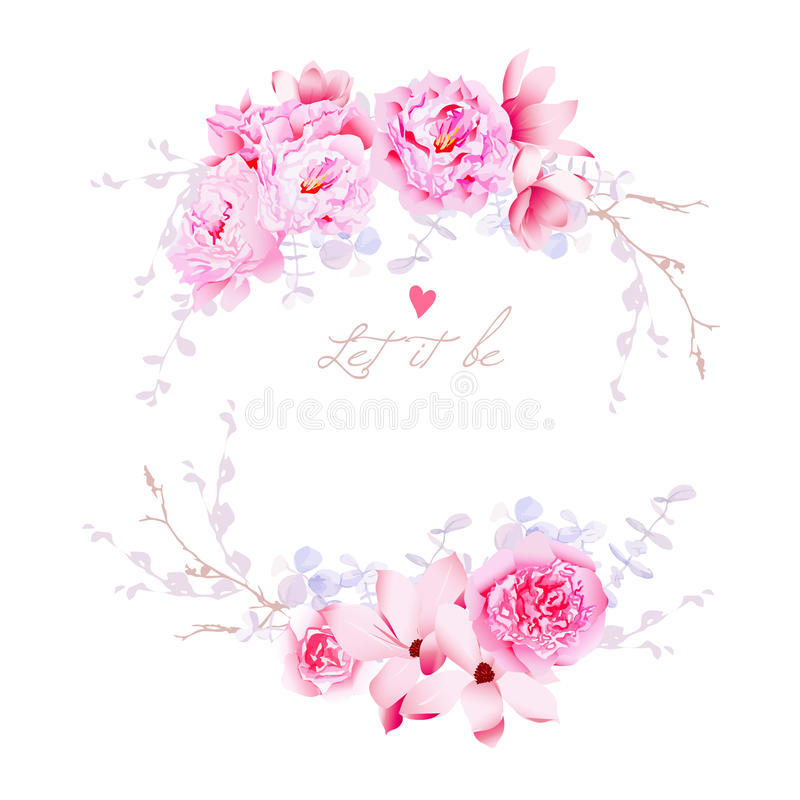 Spring magnolia and peonies vector frame. Gentle flowers wedding vector illustration