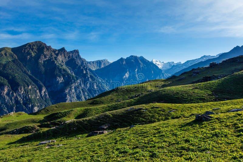 Spring in Kullu valley in Himalaya mountains. Himachal Pradesh, India royalty free stock photo