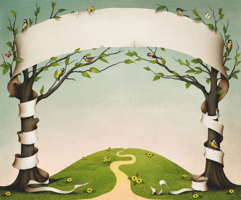 Two trees with banner. Spring meadow with trees, birds and flowers, and large paper banner. Computer graphics