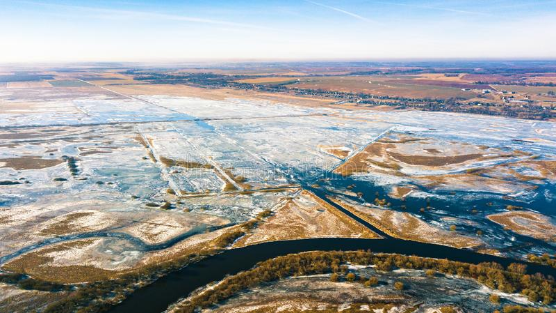 Spring melting river flood aerial panorama stock photo