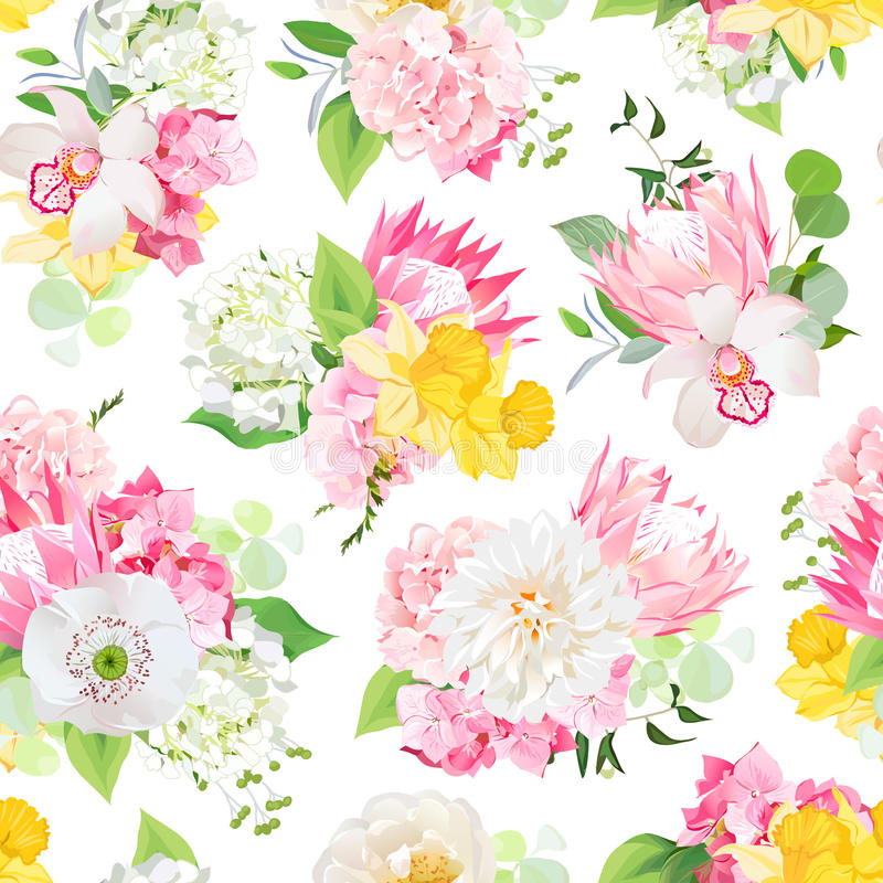 Spring mixed bouquets of pink hydrangea, protea, white poppy, dahlia, orchid, daffodil and bright green plants seamless vector des. Ign pattern. Modern funky vector illustration