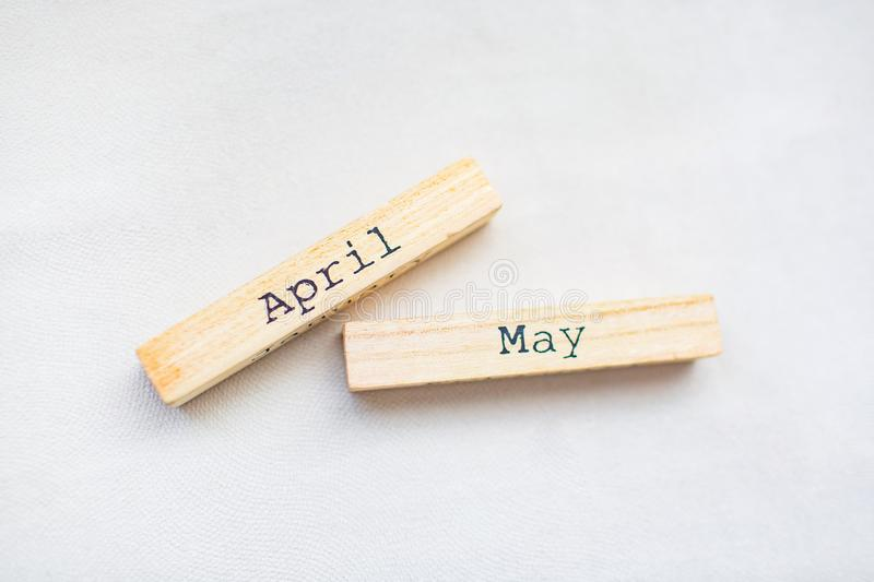 Spring months concept. Wooden calendar close up. Hand made items stock photo