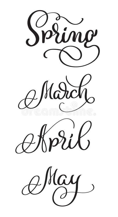 Spring Months march april may words on white background. Hand drawn vintage Calligraphy lettering Vector illustration royalty free illustration