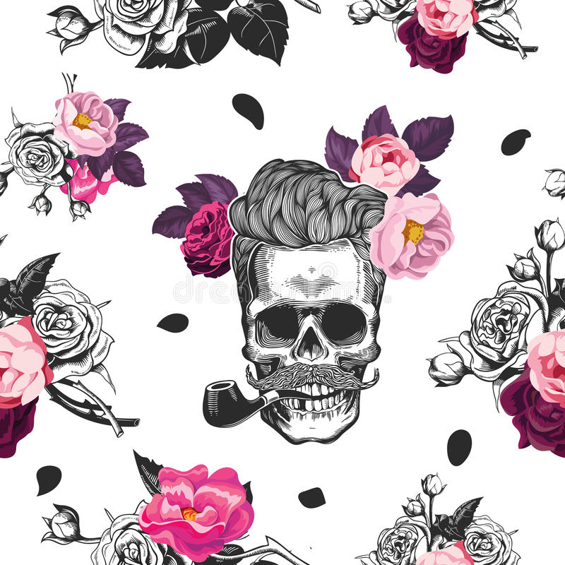Spring mood. Seamless pattern with the skulls, boquets of roses in the background. Skull silhouette in engraving style. Fashion illustration. Vector royalty free illustration