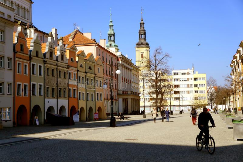 Spring morning in the city. Legnica, Poland in the march morning royalty free stock photos