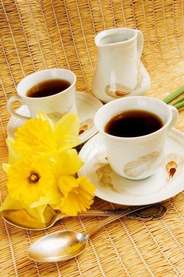 Spring morning coffee stock photo