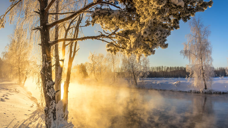 Spring morning landscape with fog and a forest, river, Russia, Ural royalty free stock photography