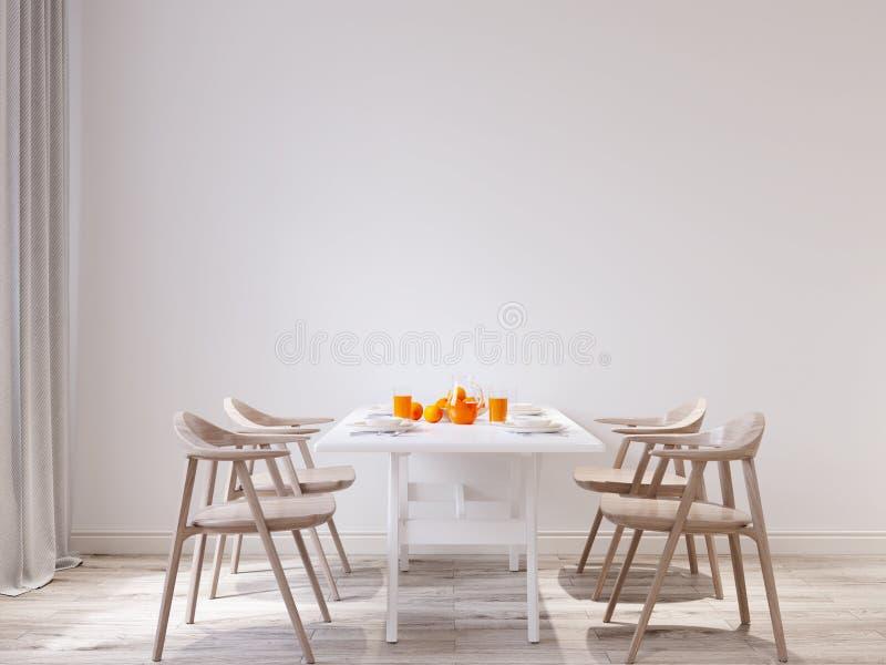 Spring morning Mock up wall dining room interior stock illustration