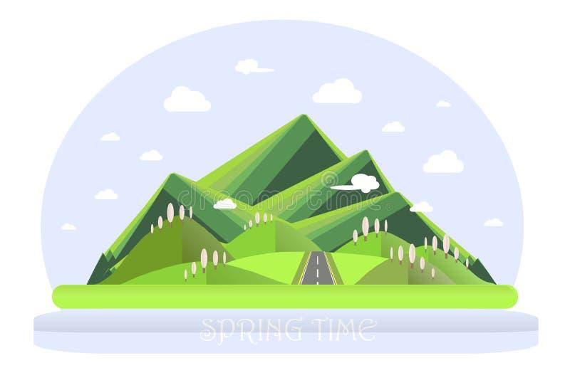 Spring mountain landscape. Green hills, blue sky, white clouds, green trees, grey highway. Flat design, stock vector illustration vector illustration