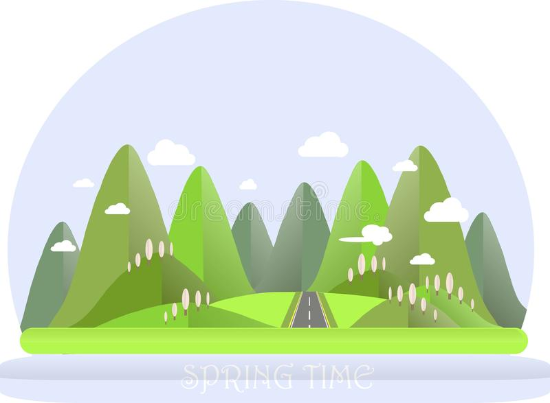 Spring mountain landscape. Green hills, blue sky, white clouds, pink trees, grey highway. Flat design vector illustration