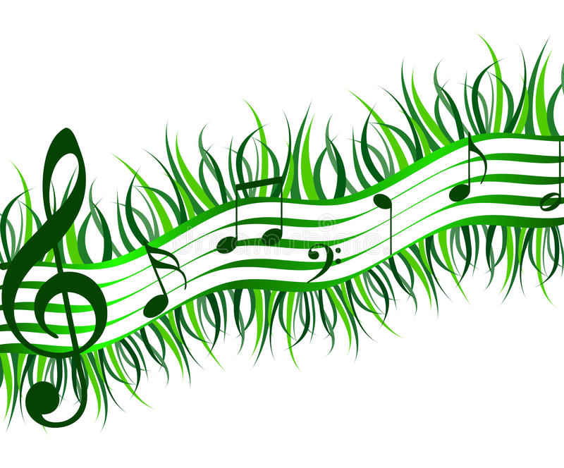 Spring music. Stave musical of grass and music notes royalty free illustration