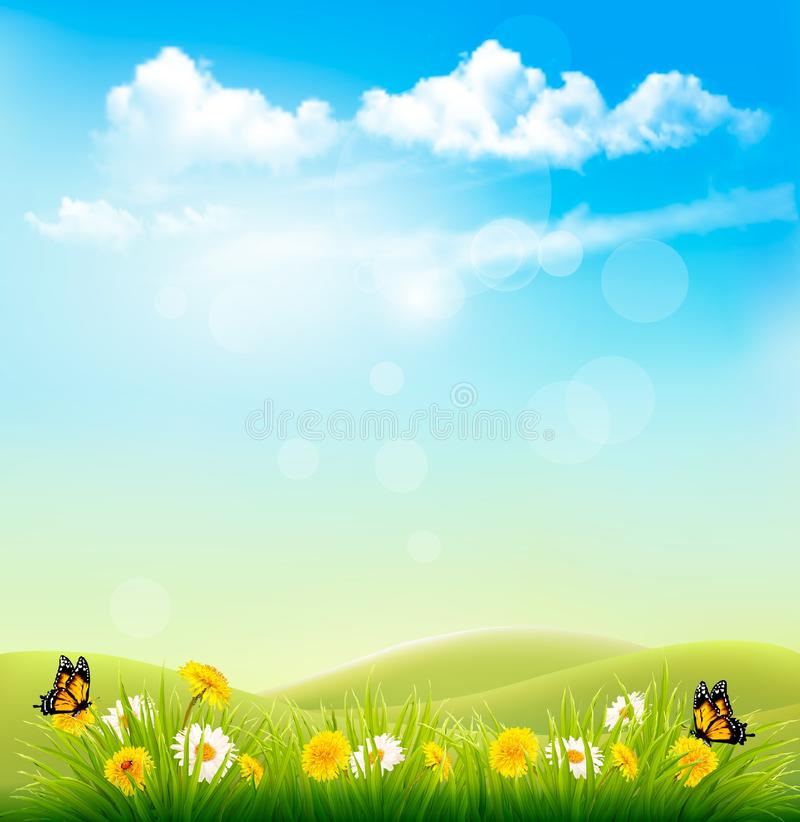 Spring Nature Background With A Green Grass And Blue Sky vector illustration