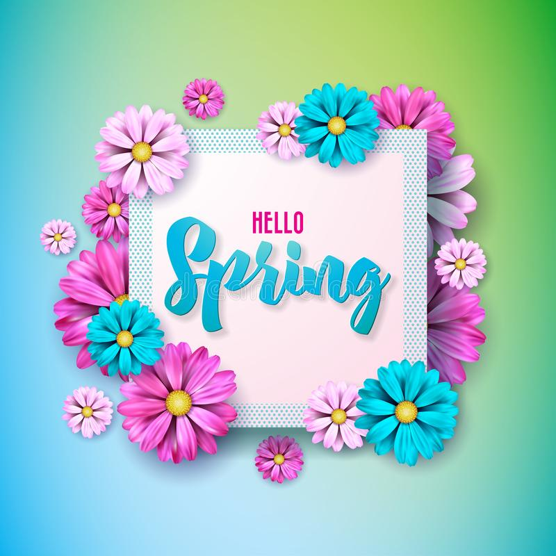 Spring nature design with beautiful colorful flower on clean background. Vector floral design template with typography. Letter vector illustration