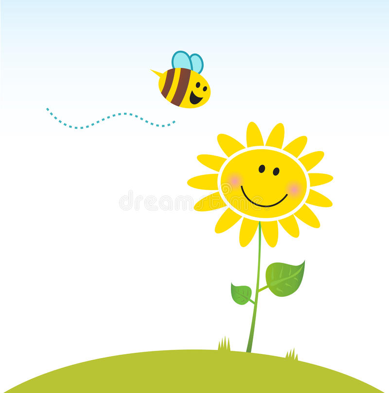 Spring & nature: Happy yellow flower with bee vector illustration