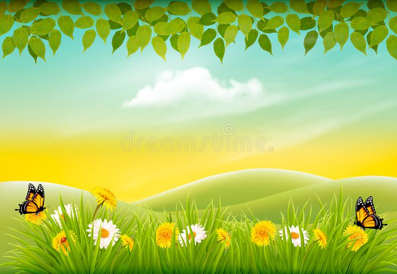 Spring nature landscape background with flowers and butterflies. vector illustration