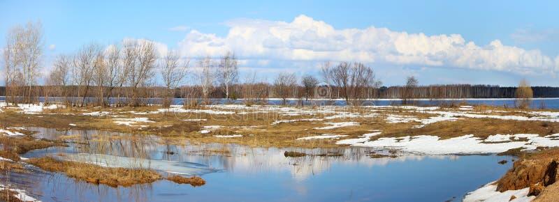 Spring nature, panoramic scenery. Beautiful nature, panoramic scenery. Rivers of Russia - Volga stock photo