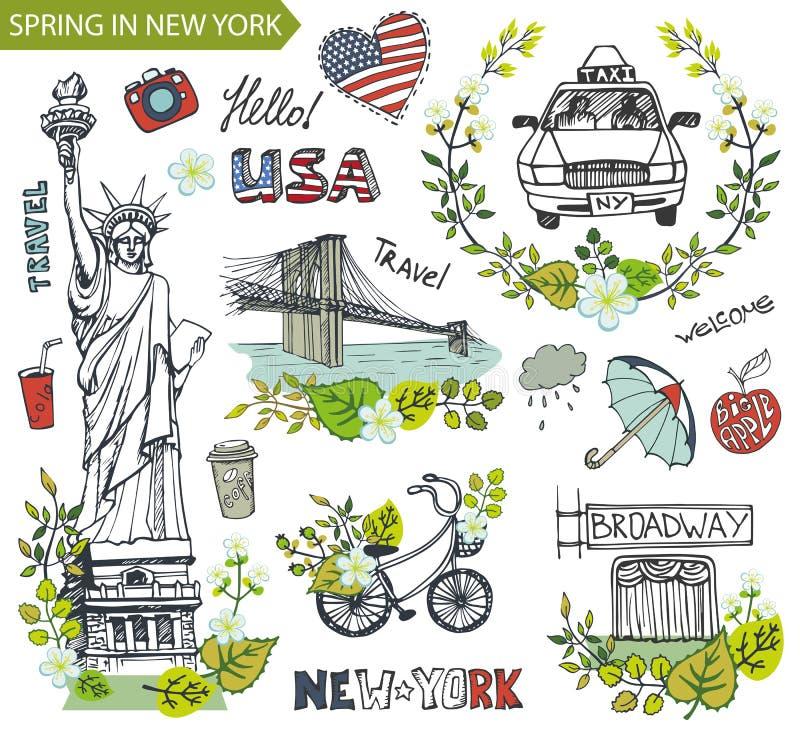 Spring In New Yorkfamous Landmarksfloral Decor Set Stock Vector