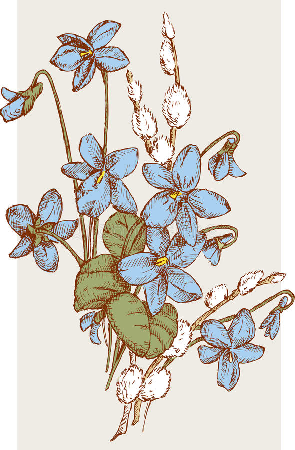 Spring nosegay of the violets and willow twigs vector illustration
