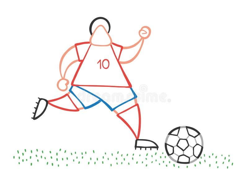 Spring och dribbling för man för spelare för vektortecknad filmfotboll klumpa ihop sig på grop stock illustrationer
