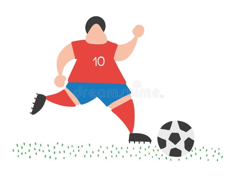 Spring och dribbling för man för spelare för vektortecknad filmfotboll klumpa ihop sig på grop vektor illustrationer