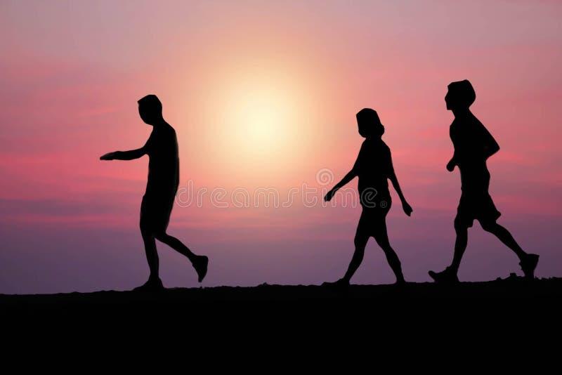 Spring och jogga för familj royaltyfri illustrationer
