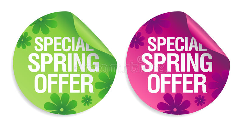 Spring Offer Stickers. Royalty Free Stock Photography