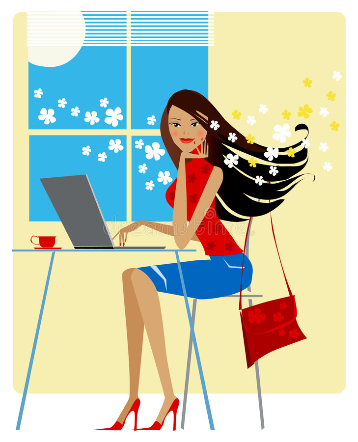 Spring at the office vector illustration