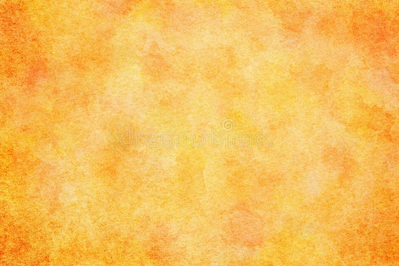 Spring orange colored watercolor paint texture or vintage canvas background. Natural spring orange colored watercolor paint texture or vintage canvas background stock illustration