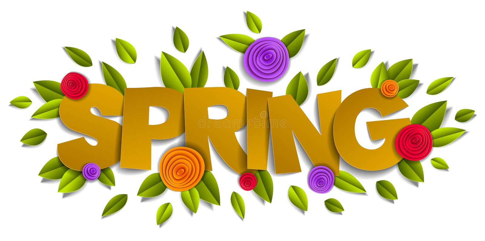 Spring papercut word with flowers and leaves vector royalty free illustration