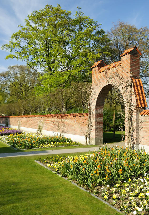 Spring Park With Ancient Architecture Stock Image