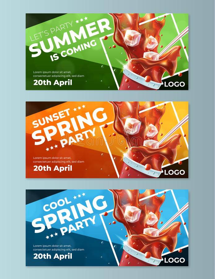 Spring Party Flyers Templates Stock Vector  Illustration Of Flying