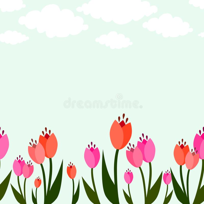 Spring seamless floral background border with tulips and clouds. Fresh and bright spring seamless floral background border with tulips and clouds royalty free illustration