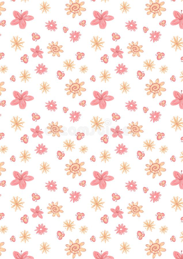 Spring pattern of flowers and leaves. royalty free stock photos