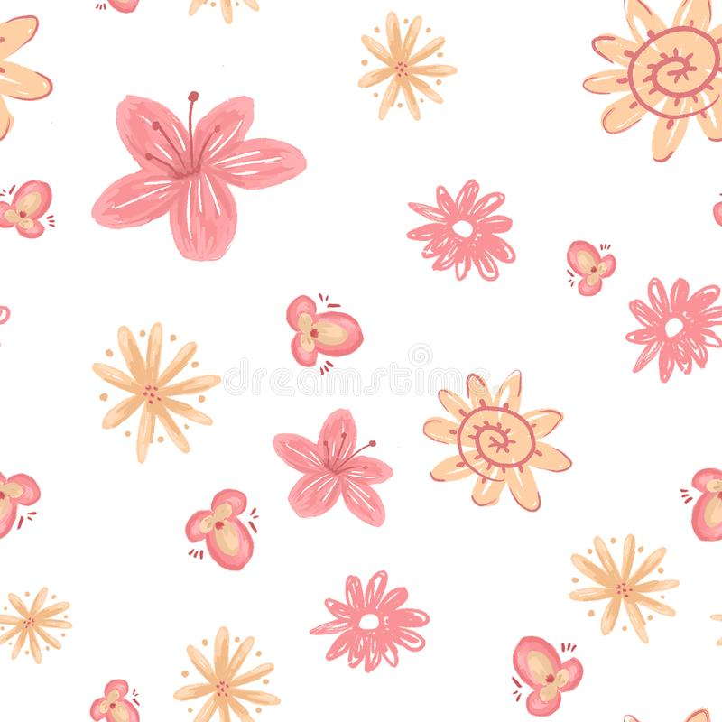 Spring pattern of flowers and leaves. royalty free stock images
