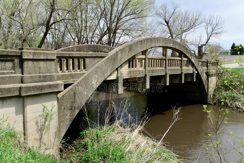 Big Creek Bridge 2. This is a Spring picture of Big Creek Bridge 2 located in Madrid, Iowa in Boone County. This 53 foot long bridge was designed by James B stock photography
