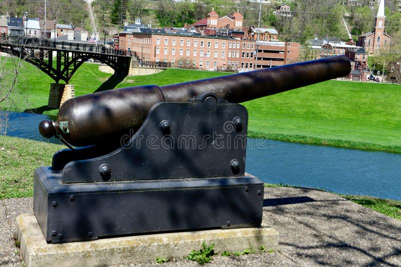 The Blakey Canon Rifle. This is a Spring picture of the historic Blakey Canon Rifle on display at Grant Park located in Galena, Illinois in Jo Daviess County stock photography