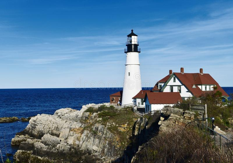 Cape Elizabeth Lighthouse. This is a Spring picture of the historic Cape Elizabeth Lighthouse located in Cape Elizabeth, Maine in Knox County. This lighthouse royalty free stock image