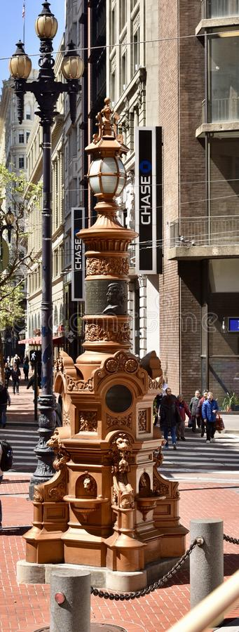 Lotta's Fountain. This is a Spring picture of the iconic Lotta's Fountain located in San Francisco, California. The cast iron fountain was a gift stock images