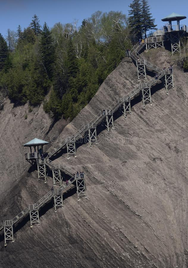 Montmorency Falls Staircase. This is a Spring picture of the iconic Montmorency Falls Staircase located in Quebec City! Quebec, Canada. The 487 wooden stairs stock images