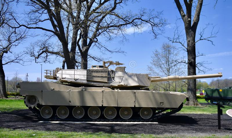 "M 1 Abrams. This is a Spring picture of a M1 Abrams on exhibit at the ""Tank Park"" at Cantigny Park located in Wheaton, Illinois in DuPage County stock photo"